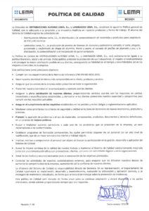 Imagen de documento de Política Calidad Distribuciones Alfonso Lema y Laminados Lema