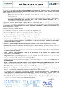 Política de calidad Distribuciones Alfonso Lema SL y Laminados Lema