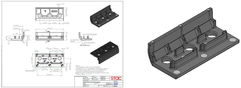 Imagen del plano del calzo y simulación en 3D de este calzo para bisagra ACRUX FR de STAC y HP