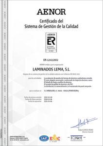 Certificado Calidad ISO 9001 AENOR Laminados Lema S.L 2015