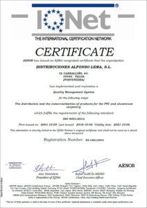 Certificado Calidad ISO 9001 IQNET Distribuciones Alfonso Lema S.L 2015