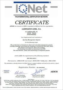 Certificado Calidad ISO 9001 IQNET Laminados Lema S.L 2015
