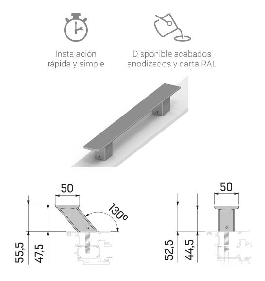 Imagen con detalles de los Tiradores TAU, la nueva línea de tiradores minimalistas para puerta