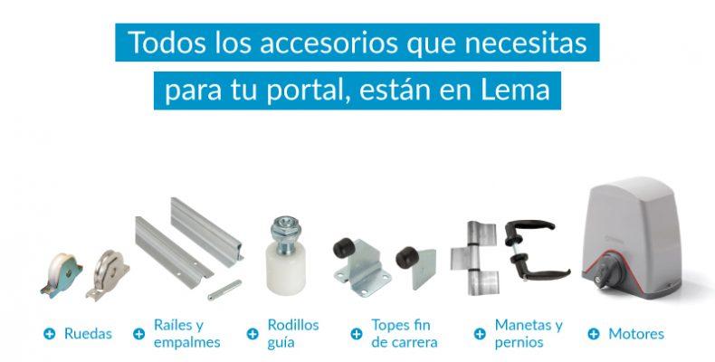 Imagen de los accesorios para portales de Distribuciones LEMA