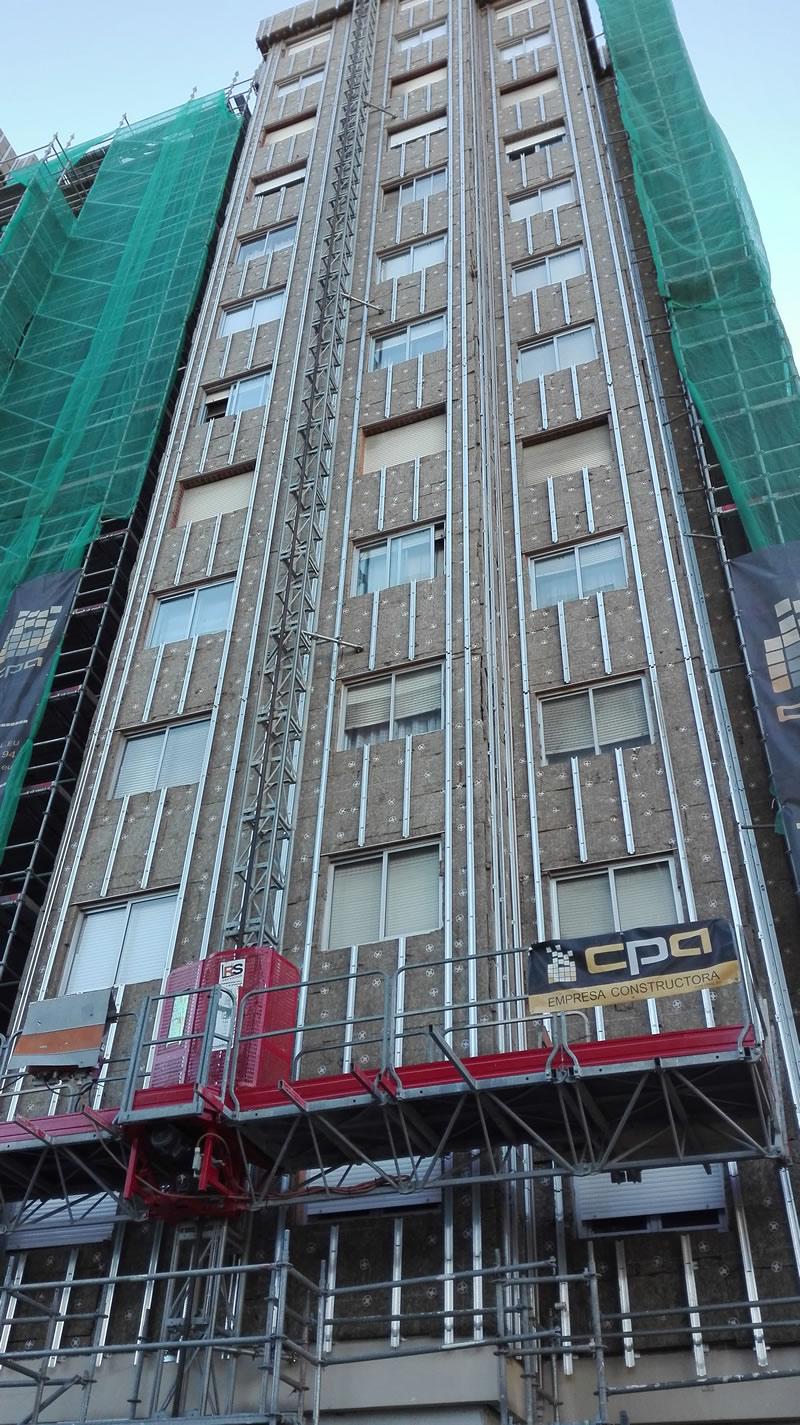 Imagen de la espectacular rehabilitación de las fachadas en Pontevedra