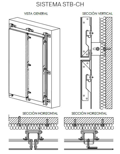 Croquis del Sistema STB-CH LEMA STACBOND - Soluciones completas para fachadas ventiladas