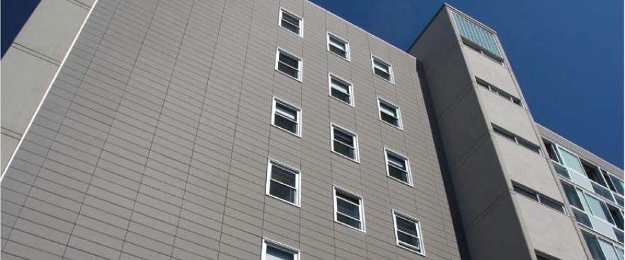 Imagen de obra fachada ventilada con panel cerámico FAVETON edificio