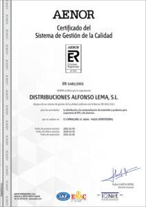 Certificado Calidad ISO 9001 AENOR Distribuciones Alfonso Lema S.L 2015