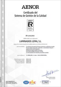 Certificado Calidad ISO-9001 IQNET Laminados Lema S.L 2019