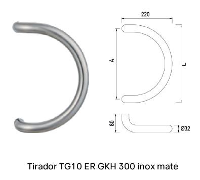 Imagen del tirador redondo semicircular en acero inoxidable