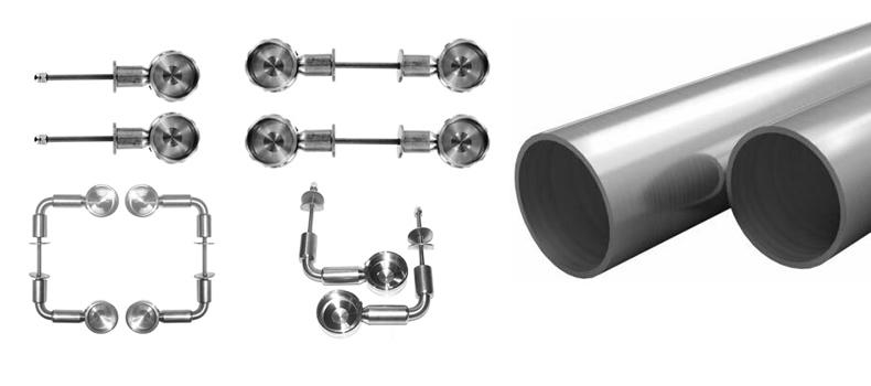 Imagen conjunto de los soportes y los tubos en acero inoxidable